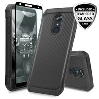 For LG Stylo 5 Hybrid Carbon Fiber TPU Armor Phone Case+Black Tempered Glass