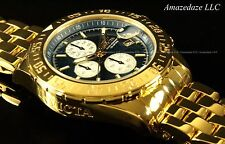 NEW Invicta Men 18K Gold Plated Stainless Steel Chronograph Blue Dial Aviator Wa
