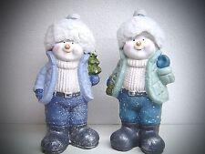 2 x ceramica bambini nella neve 26 CM PUPAZZO DI DOLCE VISI FINESTRA NEGOZIO