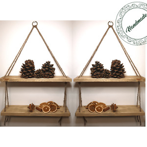 Rustic Shelves Handmade Wooden Shabby Chic Vintage Floating Hanging Rope Shelf