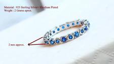 Full Eternity Ring-Gemstone Sapphire Band-925 Sterling Silver Art deco wedding.