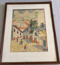 Folk art painting of the original Spratling Plata Fina silver studio in Taxco