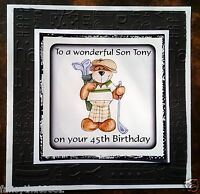 Mens Boys Handmade Personalised Birthday Card Golf Grandfather Brother ANY AGE