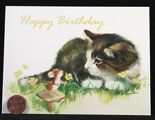 Adorable Kitten Cat Kitty Mouse Mice Flower - Happy Birthday Greeting Card - NEW