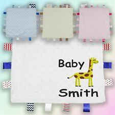 Baby Name Giraffe Embroidered Baby Dimple Taggy Gift Blanket Personalised New