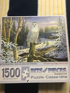 Bits & Pieces WHISPERING RIDGE SNOWY OWL 1500 Piece jigsaw PUZZLE 24x33 Winter