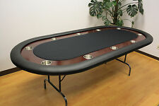 """10 Players 92"""" FULL SIZE Poker Table Folding Legs Real Wood Painting Race Track"""