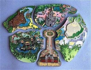 RARE DISNEY Pin Set WDW Cast Member Atlas Magic Kingdom Map Cinderella's Castle