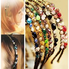 Girls Chic Metal Rhinestone Crystal Head Piece Chain Headband Hair Band PINK