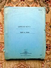 "1936 Original SCREENPLAY / SCRIPT ""LOVE IS NEWS"" Copy of Actress JANE DARWELL"