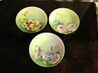 Antique Set of 3 Paroutaud Freres La Seynie Limoges France Porcelain Plates