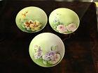 Antique Set of 3 Paroutaud Freres La Seynie Limoges France Porcelain Plates