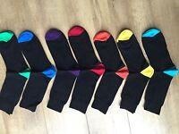 7 PAIRS MEN ADULTS BLACK COTTON SOCKS WITH COLOURED HEELS&TOES UK  6-11 ELAZIG12