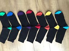 12 PAIRS MEN ADULTS BLACK COTTON SOCKS WITH COLOURED HEELS&TOES UK  6 -11  GBPLR