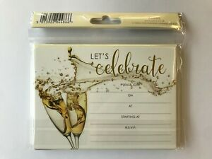 """Tallon """"Let's Celebrate"""" 12 Party Invitations and Envelopes A6 Size (2 designs)"""