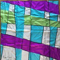 Pierre Cardin Scarf Blue Purple Green Geometric