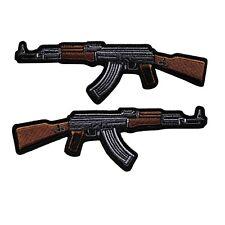 AK 47 Assault Rifle Embroidered Iron On Patch - Machine Gun Biker 024