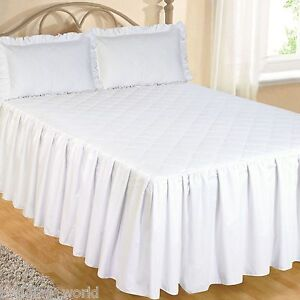 WHITE FITTED BEDSPREAD SET PILLOW SHAMS QUILTED EGYPTIAN COTTON 200 THREAD COUNT