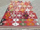 "Large Rug, Vintage Turkish Afion Kilim, Floor Wool Rug, Carpet Teppiche 71""x110"""