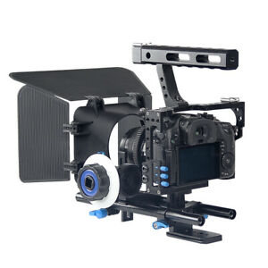 Portable Camera Video Rig Handheld Stabilizer Kit w/ Matte Box Follow Focus