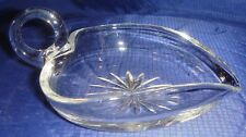 ML189 Vtg Hand Blown Clear Glass Handled Candy Dish