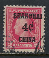 SCOTT K2 1919 4 CENT ON 2 CENT OFFICES IN CHINA ISSUE USED VF CAT $70!