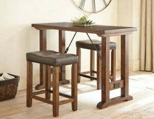 Steve Silver Colin 3 Piece Counter Height Dining Set in Mocha