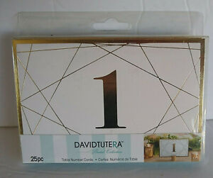 David Tutera Bridal Collection Table Number Cards Gold & White 25pc