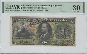 Ecuador 1 Sucre 1921 P-S126c PMG 30 *RARE*