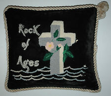 Rock Of Ages Antique Throw Pillow Vintage Wool Chenille Tufting Cross Design