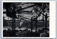 1966 WHITE NIGHT ON NEVA Leningrad INDUSTRIAL Build Linocut Soviet USSR Postcard