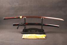 Japanese Sword SamuraiKatana Blood Red Sharp Damascus Steel Blade Full Tang