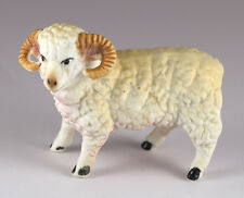 Vintage Miniature Bone China Sheep Ram Figurine Matte Finish