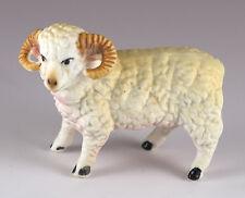 Vintage Miniature Bone China Sheep Ram Figurine Matte Finish