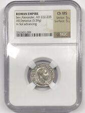 Roman Empire Severus Alexander AR Denarius NGC Ancients Choice MS 5/5 5/5