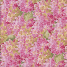 Pink Hydrangea Flowers Floral Quilting Fabric FQ or Metre *New*