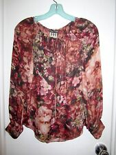 New Haute Hippie Silk XS Blouse Boho Floral Print Drawstring Lined Poet Long Slv