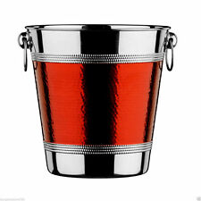 Red Stainless Steel Ice Hammered Band Bucket Wine Cooler Champagne Cooler New