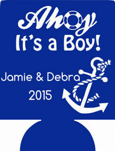 Ahoy it's a boy nautical baby shower can coolers 170888359