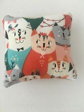 Handmade square mini pillow cat toy with catnip gift pet Cotton Print