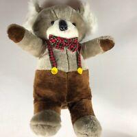 "A & B Novelty Plush Koala Bear VTG 1982 Stuffed Large 21"" Plaid Bow Tie Overalls"