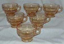 "6 New Martinsville MOONDROPS AMBER* 2 1/2"" CUPS*"