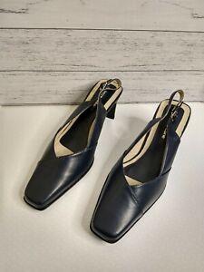 Pierre Fontaine Leda Size 8 Navy Blue Slingback Heels Near new Formal/Work