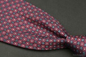 "BRIONI Pink Geometric 100% Silk Mens Luxury Tie - 3.625"""