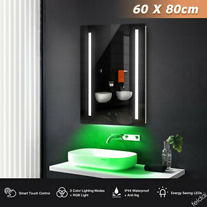 60x80cm LED Bathroom Mirror Light Shaver Socket Demister Sensor Switch RGB UK