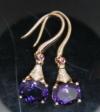SOLID 14K ROSE GOLD NATURAL BEST COLOR PURPLE AMETHYST DIAMOND EARRING