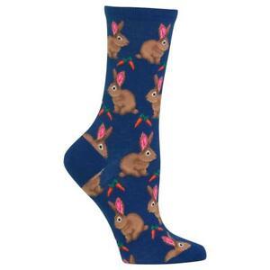 Happy Rabbits Hot Sox Women's Crew Socks Dark Blue New Bunny & Carrots Fashion