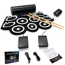 Beginner Roll Up Electric Drum Set USB MIDI Speakers Foot Pedals Drum Sticks Pad