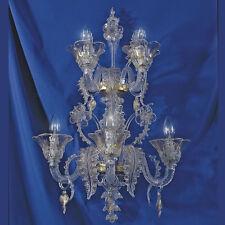 Elegant Applique 3+2 luci cristallo oro in vetro di Murano