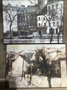 2 x VERKERKE ART PRINTS ON Wood Blocks Pictures  - 21 X 30 cm ( G21 / G24 )